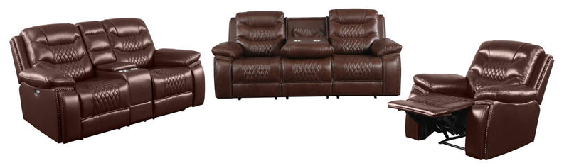 Brown - Flamenco Tufted Upholstered Motion Loveseat With Console Brown