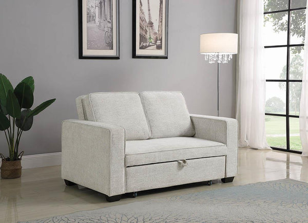 Off White - Helene Upholstered Sleeper Sofa Bed Beige