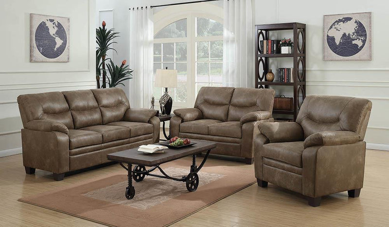 Brown - Meagan Upholstered Loveseat Brown With Pillow Top Arms