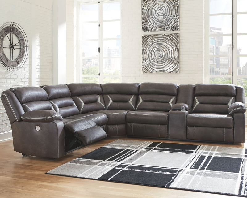 Kincord - Midnight - LAF Zero Wall PWR Recliner, Armless Chair, Wedge & RAF REC PWR Sofa with Console Sectional