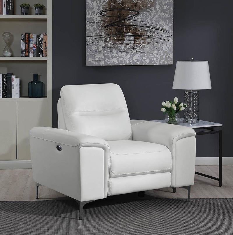 Largo Motion Collection - White - Largo Upholstered Power Recliner White