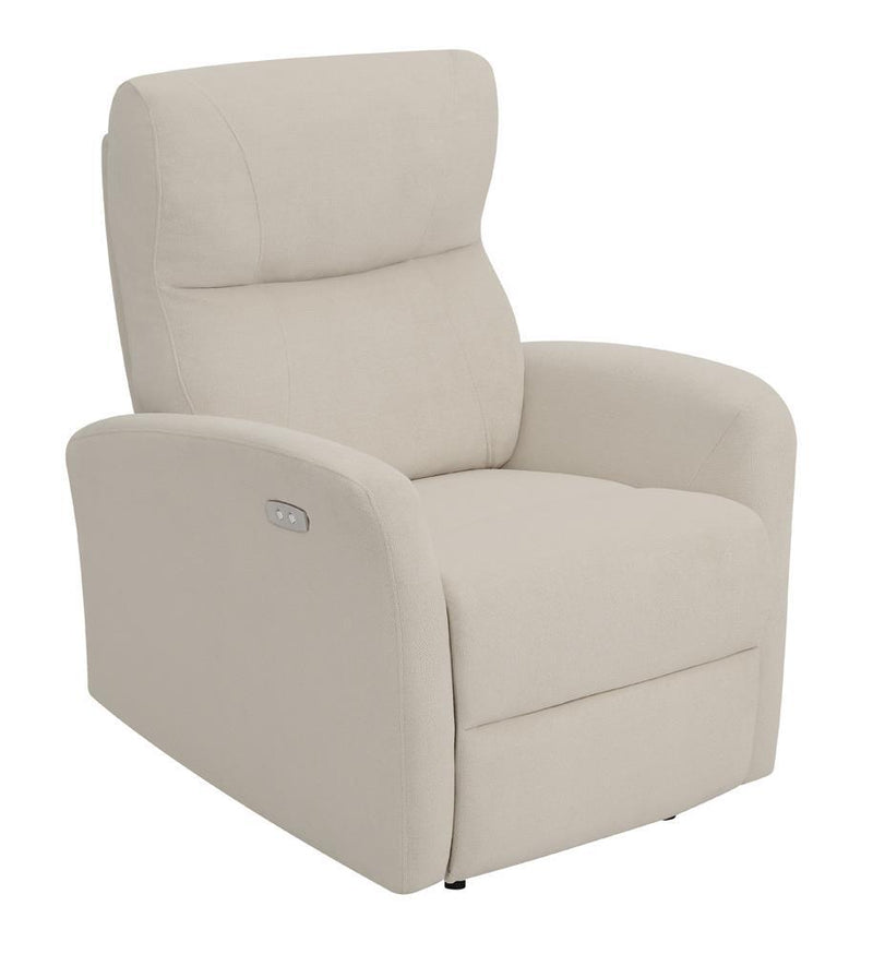 Beige - Upholstered Cushion Power Recliner Beige