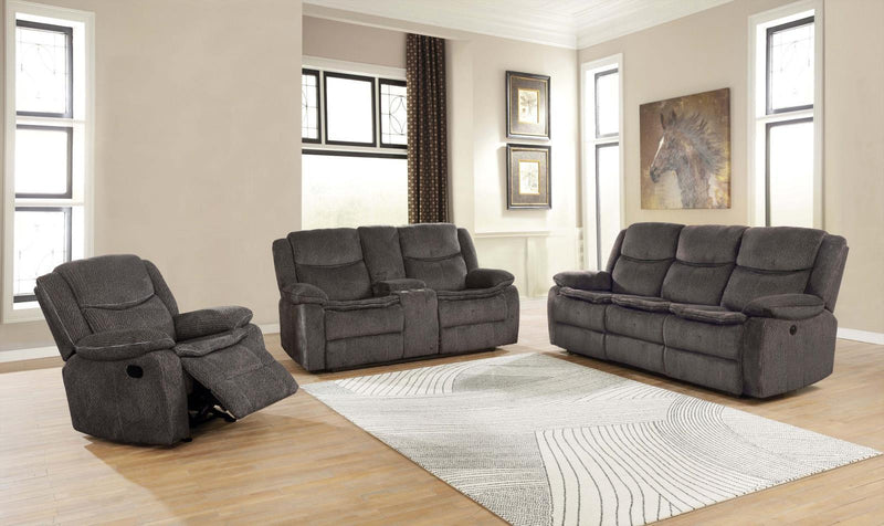 Charcoal - Jennings Upholstered Motion Loveseat With Console Charcoal
