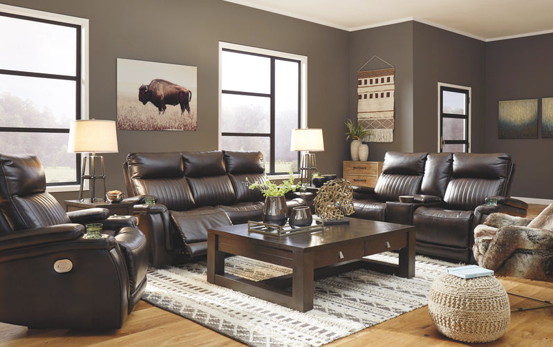 Team Time - Chocolate - 6 Pc. - Power Reclining Sofa with Adjustable Headrest, Power Reclining Loveseat, Power Recliner, Tariland Lift Top Cocktail Table, End Table, Chair Side End Table