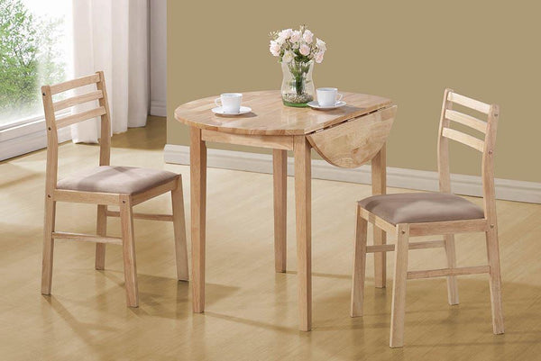 Packaged Sets: 3 Pc Set - Beige - 3-piece Dining Set With Drop Leaf Natural And Tan