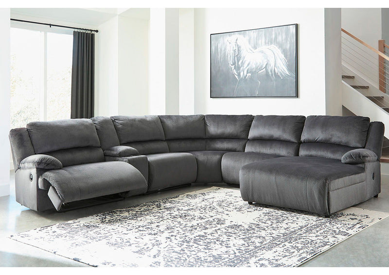 Clonmel - Charcoal - LAF Zero Wall Recliner, Console with Storage, Armless Recliner, Wedge, Armless Chair & RAF Press Back Chaise Sectional