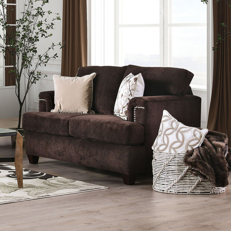 BRYNLEE - Loveseat + 4 Pillows - Chocolate