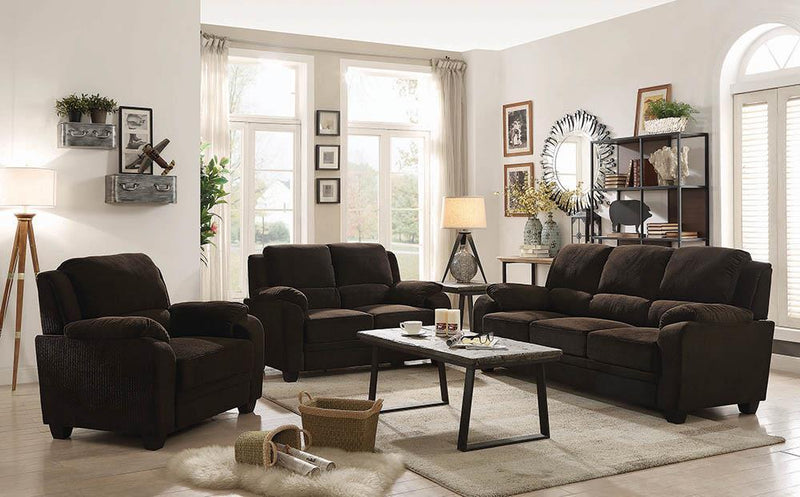 Chocolate - Northend Upholstered Loveseat Chocolate