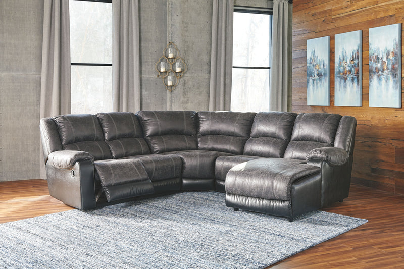 Nantahala - Slate - LAF Zero Wall Recliner, Armless Recliner, Wedge, Armless Chair & RAF Corner Chaise Sectional