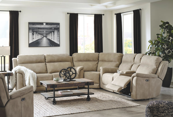 Next-Gen DuraPella - Sand - 7 Pc. - Power Reclining Sofa with Adjustable Headrest, Wedge, Power Reclining Loveseat with Console/Adjustable Headrest Sectional, Power Recliner with Adjustable Headrest, Bostweil Cocktail Table, 2 End Tables
