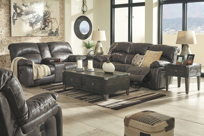 Dunwell - Steel - PWR REC Sofa with ADJ HDRST, PWR REC Loveseat with CON/ADJ HDRST & PWR Rocker REC/ADJ Headrest