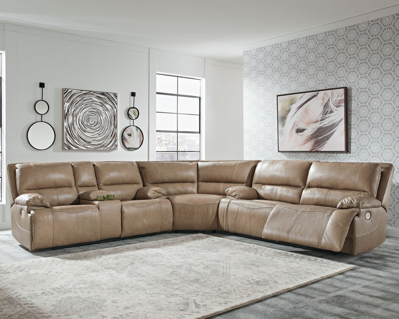 Ricmen - Putty - 2 Seat PWR REC Sofa ADJ HDRST, Wedge & PWR REC Loveseat with CON/ADJ HDRST Sectional