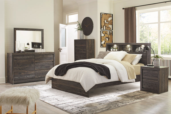 Vay Bay - Charcoal - 5 Pc. - Dresser, Mirror & Queen Bookcase Panel Bed