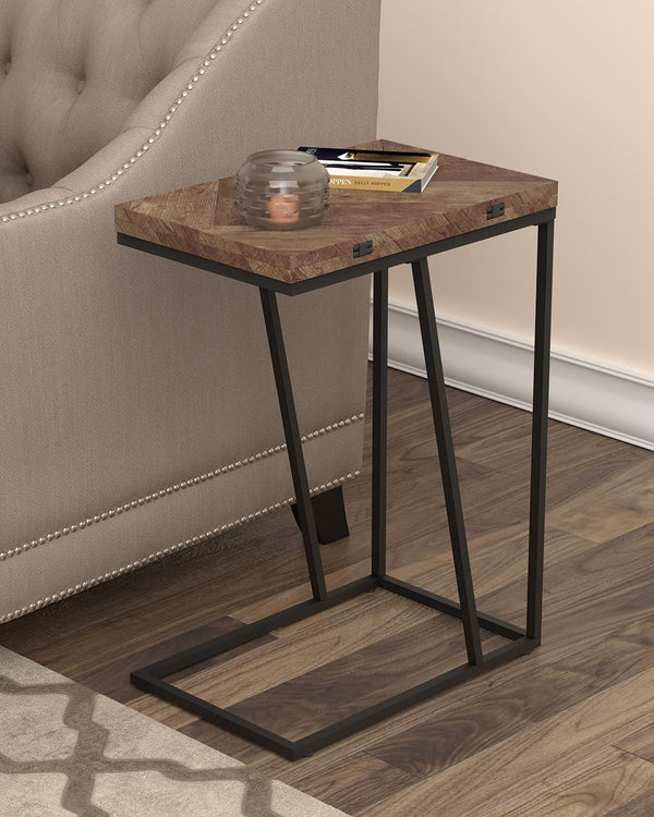 Expandable Chevron Rectangular Accent Table Tobacco