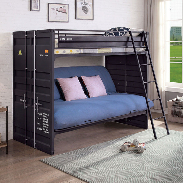 Lafray - Twin Bunk Bed w/ Futon Base - Black