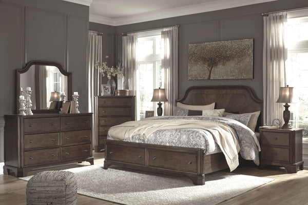 Adinton - Brown - 5 Pc. - Dresser, Mirror & Queen Panel Bed with Storage