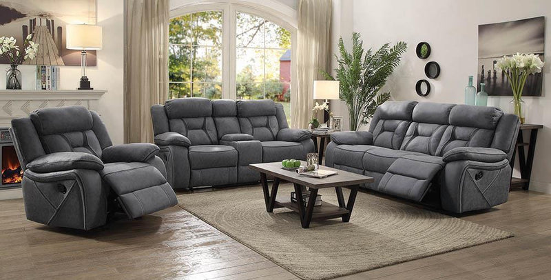 Higgins Motion Collection - Grey - Higgins Pillow Top Arm Motion Loveseat With Console Grey
