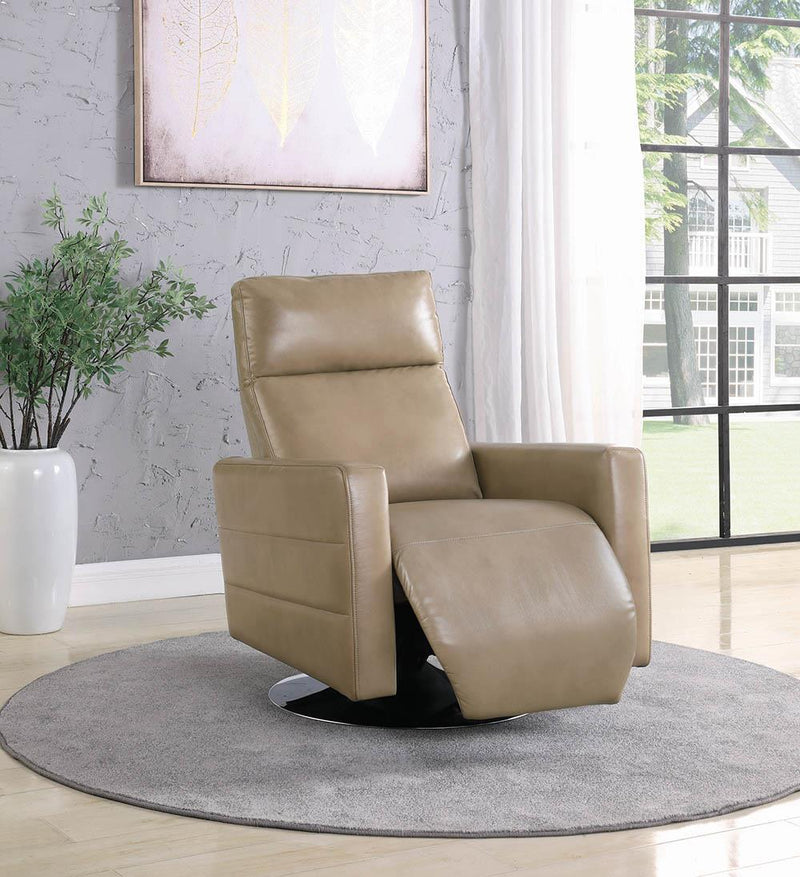 Living Room : Power Recliner - Taupe - Upholstered Push Back Swivel Recliner Taupe
