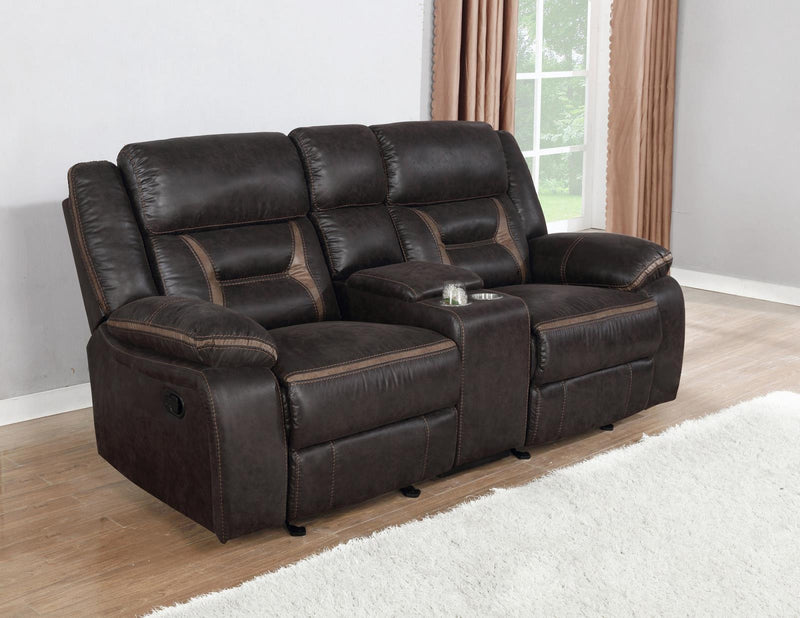 Brown - Glider Loveseat W/ Console