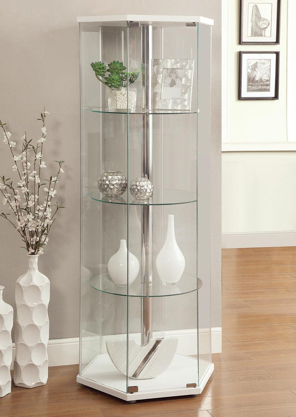 4-shelf Hexagon Shaped Curio Cabinet White And Clear