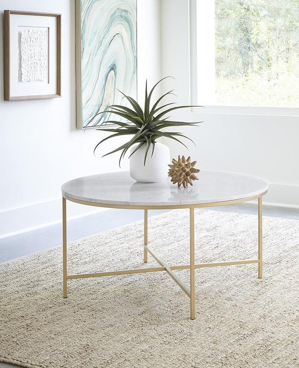 Living Room: Occasional Tables - Round X-cross Coffee Table White And Gold
