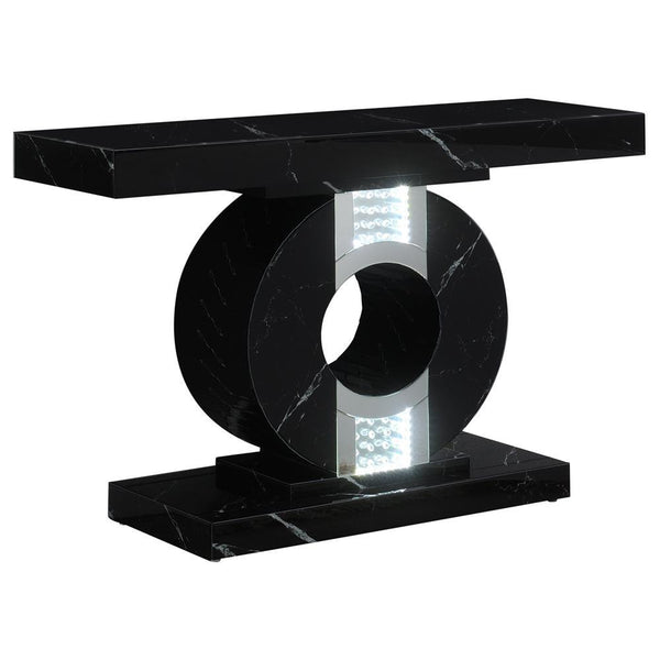 Geometric Console Table With Led Lighting Black