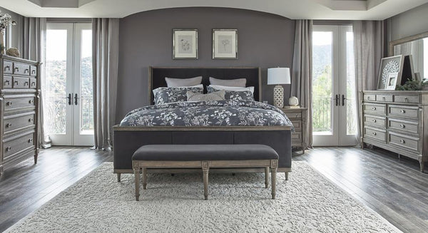 Alderwood Collection - Charcoal Grey Matte - Alderwood California King Upholstered Panel Bed Charcoal Grey