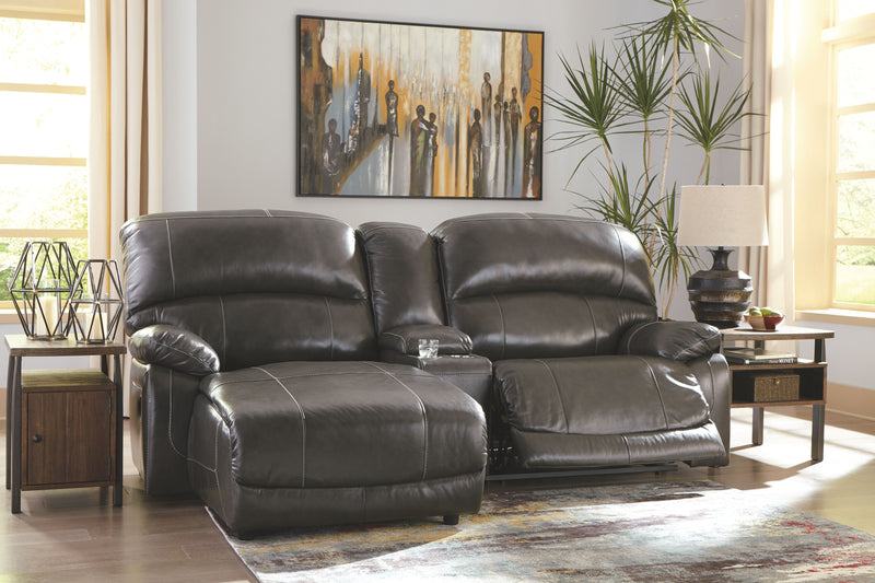 Hallstrung - Gray - LAF Press Back PWR Chaise, Console & RAF Zero Wall PWR Recliner Sectional