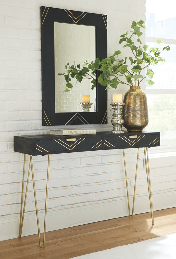 Coramont - Black/Gold Finish - Console Table w/Mirror (2/CN)
