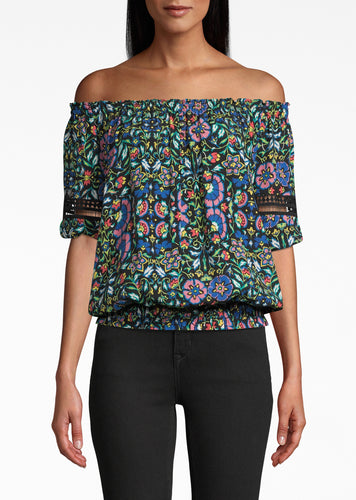 Nicole Miller Mosaic Silk Off The Shoulder Smocked Top