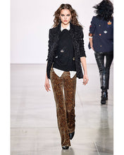 Load image into Gallery viewer, Nicole Miller Leopard Velvet Bell Bottom Pant