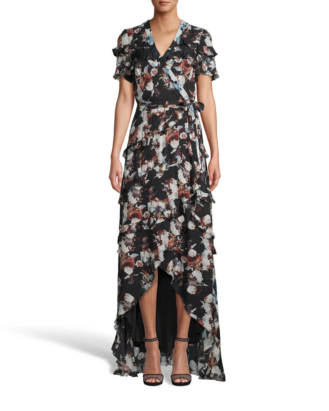 Nicole Miller Baroque Silk High Low Wrap Dress