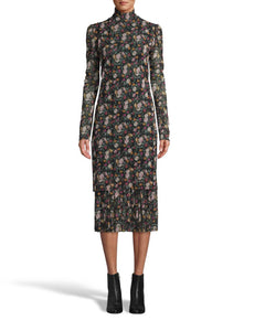 Nicole Miller Printed Mesh Midi Dress