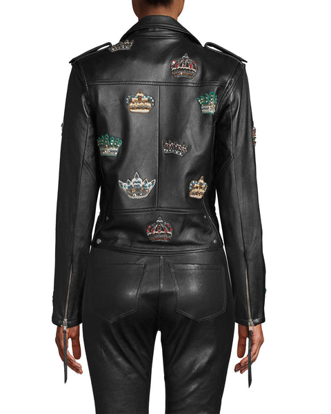 Nicole Miller Embellished Crown Leather Moto Jacket