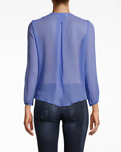 Nicole Miller Solid Silk Long Sleeve Blouse With Button Loops