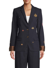 Load image into Gallery viewer, Nicole Miller Embroidered Pinstripe Boyfriend Blazer