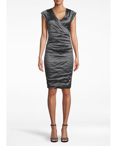 "Nicole Miller Solid Techno Metal ""Beckett"" V-Neck Cap Sleeve Wrap Dress"