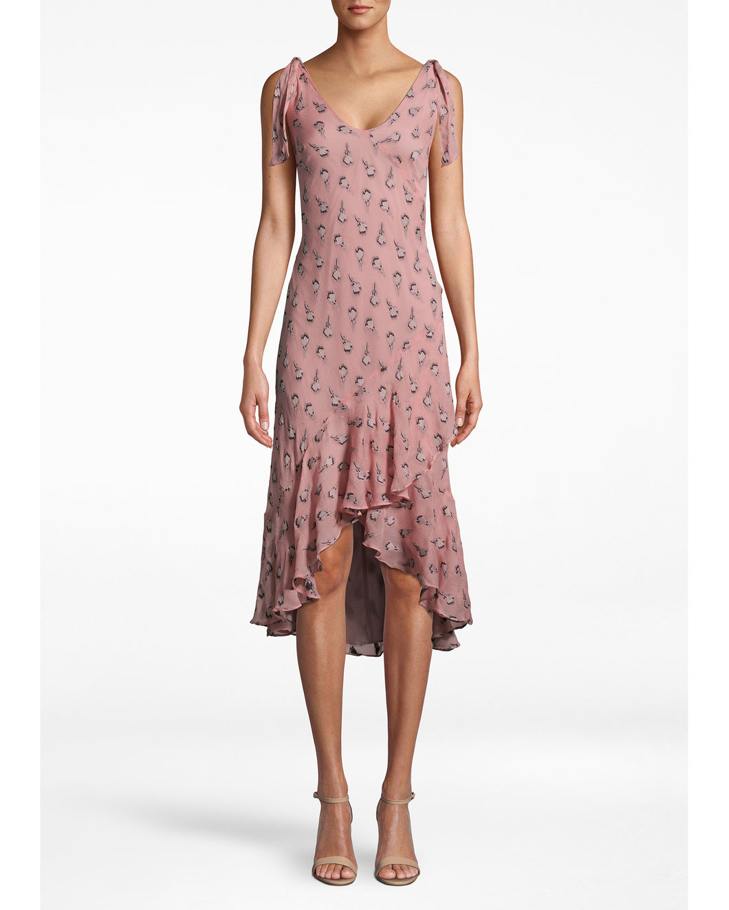 Nicole Miller Clipped Rose Asymmetrical Ruffle Tie Dress