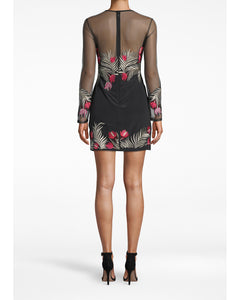 Nicole Miller Flower Fire Embroidered Long Sleeve Dress