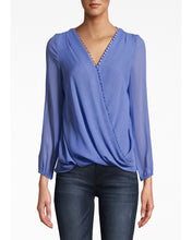 Load image into Gallery viewer, Nicole Miller Solid Silk Long Sleeve Blouse With Button Loops