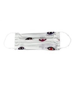 Nicole Miller White Evil Eye Face Mask