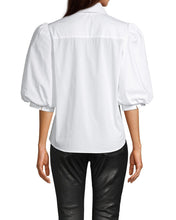 Load image into Gallery viewer, Nicole Miller Cotton Poplin Tuxedo Puff Sleeve Blouse