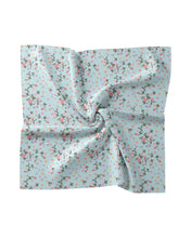 Load image into Gallery viewer, Nicole Miller Aqua Flower Dust Silk Scarf