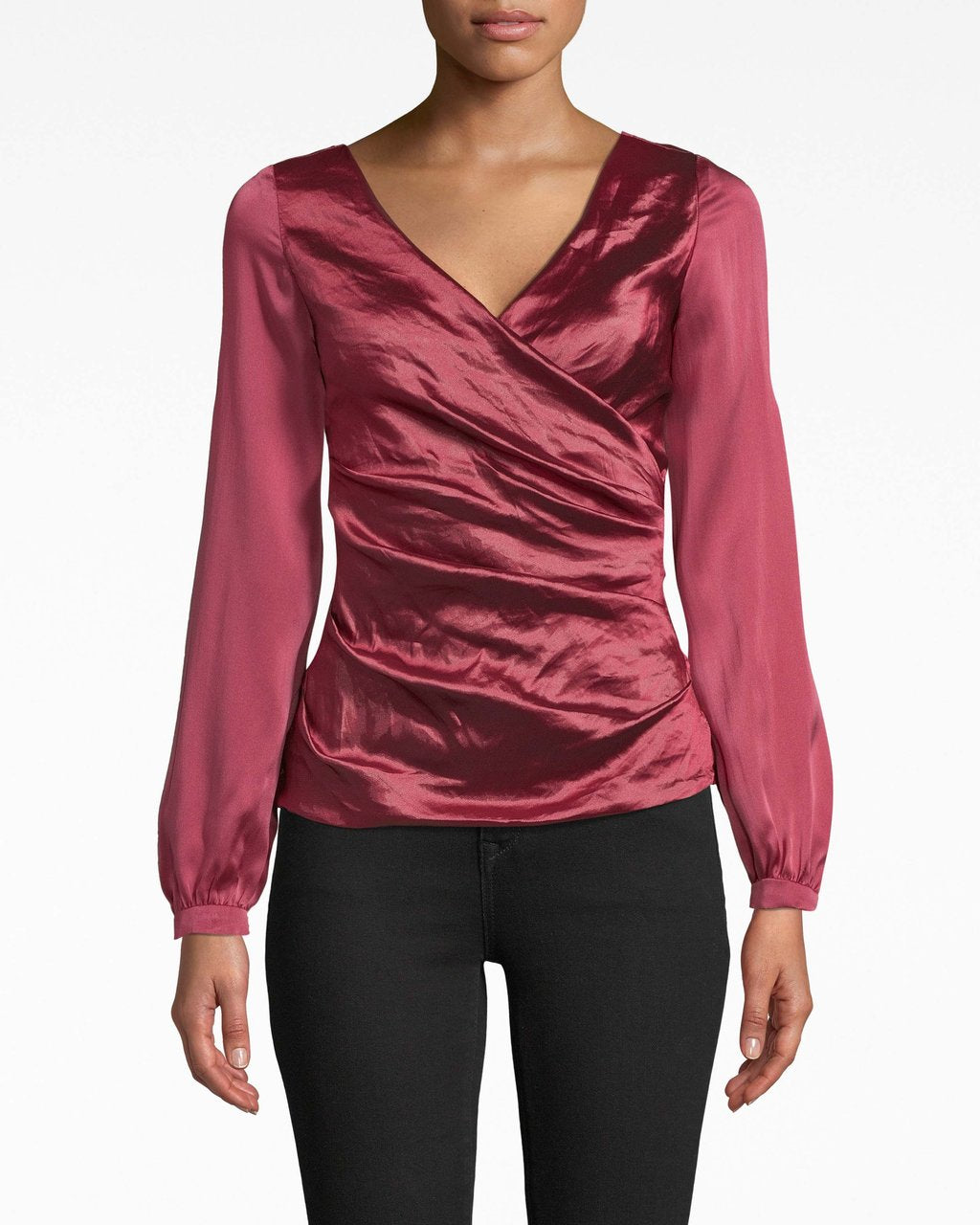 Nicole Miller Long Sleeve Techno Metal Combo Top