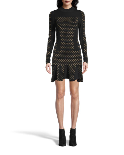 Nicole Miller Diamond Jacquard Long Sleeve Dress
