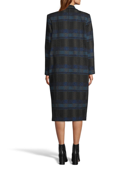 Nicole Miller Lurex Plaid Wool Long Coat