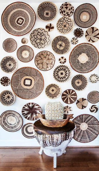 African basket feature wall