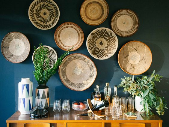 baskets wall above sideboard style
