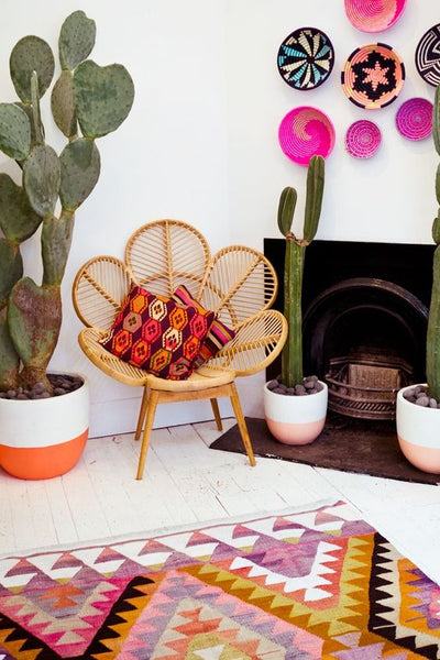 Colourful african fairtrade geometric baskets