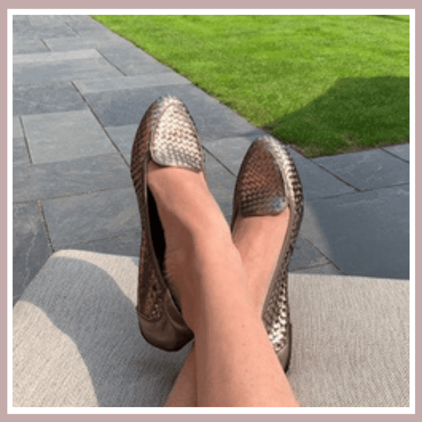Zella in her Clapham Pewter Cocorose Shoes